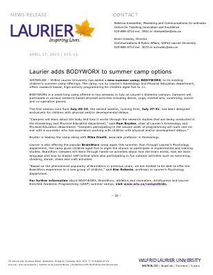 075-2015 : Laurier adds BODYWORX to summer camp options