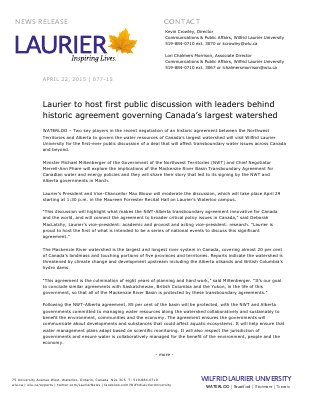 077-2015 : Laurier to host first public discussion with leaders behind historic agreement governing Canada's largest watershed