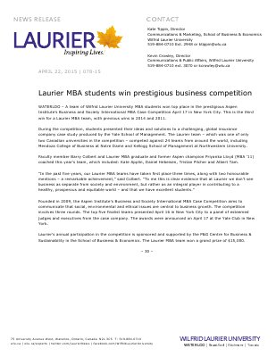 078-2015 : Laurier MBA students win prestigious business competition