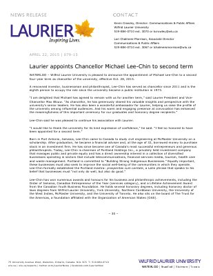079-2015 : Laurier appoints Chancellor Michael Lee-Chin to second term