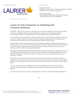 083-2015 : Laurier to host symposium on marketing and  consumer behaviour