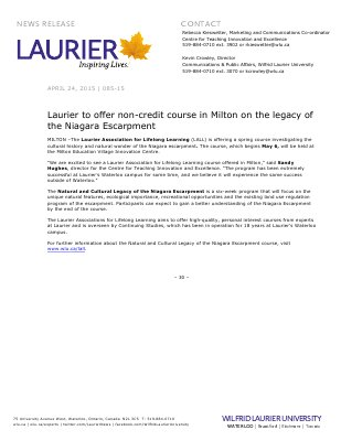 085-2015 : Laurier to offer non-credit course in Milton on the legacy of the Niagara Escarpment