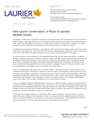 086-2015 : New Laurier Conservatory of Music to operate  Beckett School