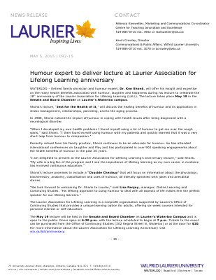 092-2015 : Humour expert to deliver lecture at Laurier Association for Lifelong Learning anniversary