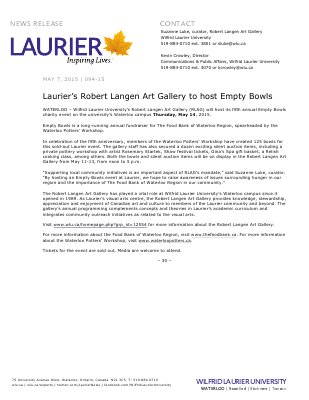 094-2015 : Laurier's Robert Langen Art Gallery to host Empty Bowls