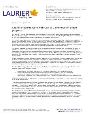 095-2015 : Laurier students work with City of Cambridge on urban projects