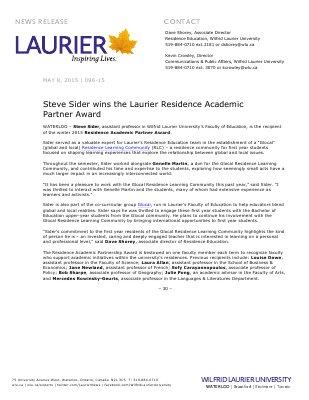 096-2015 : Steve Sider wins the Laurier Residence Academic Partner Award