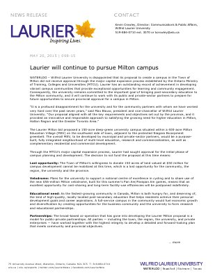 098-2015 : Laurier will continue to pursue Milton campus