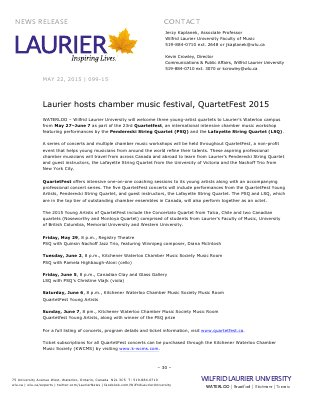 099-2015 : Laurier hosts chamber music festival, QuartetFest 2015