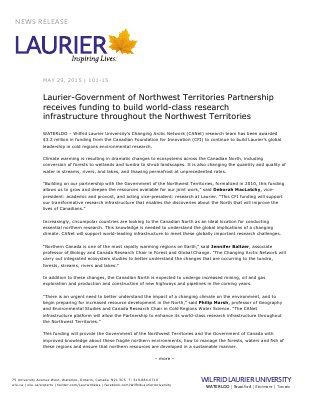 101-2015 : Laurier-Government of Northwest Territories Partnership receives funding to build world-class research infrastructure throughout the Northwest Territories