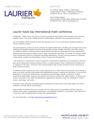 102-2015 : Laurier hosts top international math conference