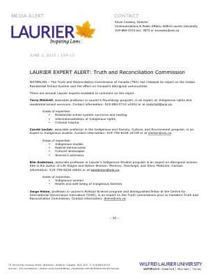 104-2015 : LAURIER EXPERT ALERT: Truth and Reconciliation Commission