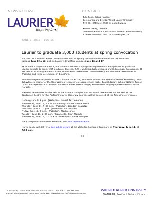 106-2015 : Laurier to graduate 3,000 students at spring convocation