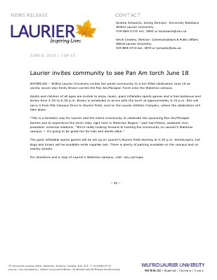 108-2015 : Laurier invites community to see Pan Am torch June 18
