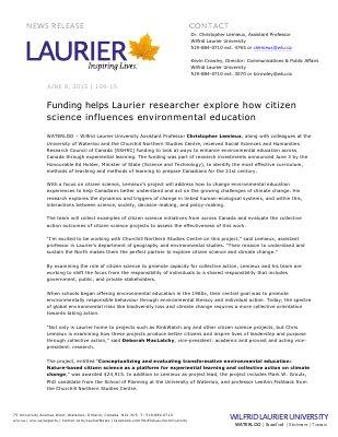 109-2015 : Funding helps Laurier researcher explore how citizen science influences environmental education