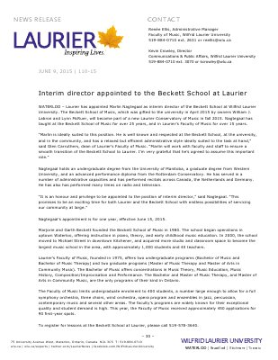 110-2015 : Interim director appointed to the Beckett School at Laurier