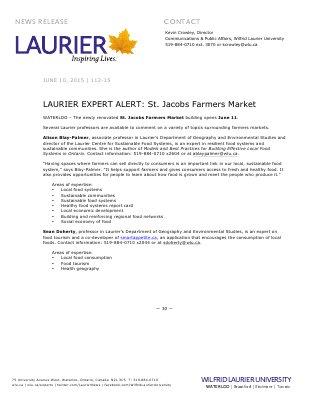 112-2015 : LAURIER EXPERT ALERT: St. Jacobs Farmers Market