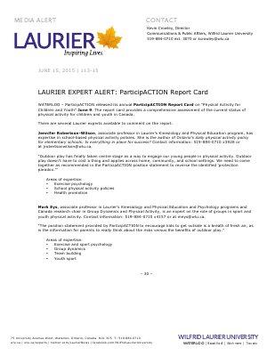 113-2015 : LAURIER EXPERT ALERT: ParticipACTION Report Card