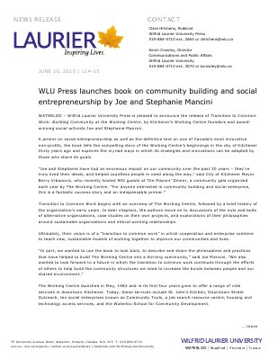 114-2015 : WLU Press launches book on community building and social entrepreneurship by Joe and Stephanie Mancini
