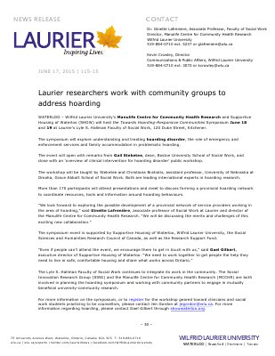 115-2015 : Laurier researchers work with community groups to address hoarding