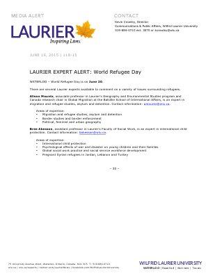 118-2015 : LAURIER EXPERT ALERT: World Refugee Day