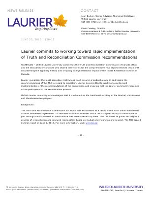 120-2015 : Laurier commits to working toward rapid implementation of Truth and Reconciliation Commission recommendations
