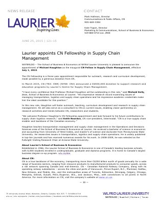 121-2015 : Laurier appoints CN Fellowship in Supply Chain  Management