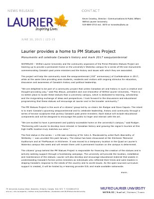 123-2015 : Laurier provides a home to PM Statues Project