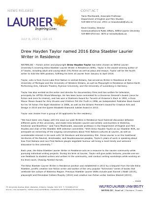 126-2015 : Drew Hayden Taylor named 2016 Edna Staebler Laurier Writer in Residence