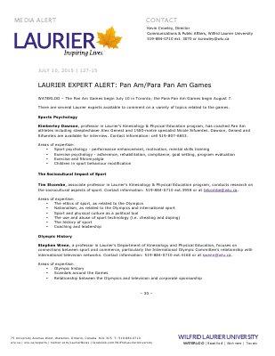 127-2015 : LAURIER EXPERT ALERT: Pan Am/Para Pan Am Games
