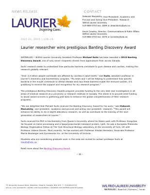 128-2015 : Laurier researcher wins prestigious Banting Discovery Award