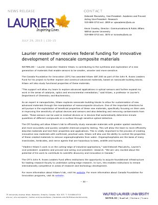 130-2015 : Laurier researcher receives federal funding for innovative development of nanoscale composite materials