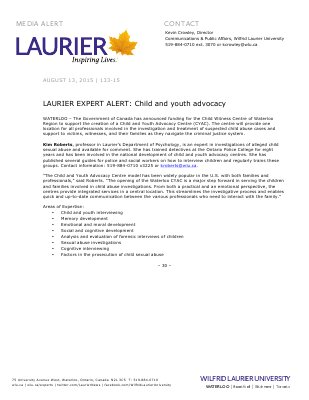 133-2015 : LAURIER EXPERT ALERT: Child and youth advocacy