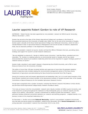 134-2015 : Laurier appoints Robert Gordon to role of VP Research
