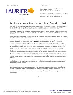 135-2015 : Laurier to welcome two-year Bachelor of Education cohort