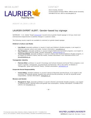 136-2015 : LAURIER EXPERT ALERT: Gender-based toy signage
