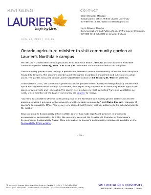 138-2015 : Ontario agriculture minister to visit community garden at Laurier's Northdale campus