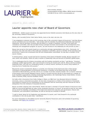 139-2015 : Laurier appoints new chair of Board of Governors