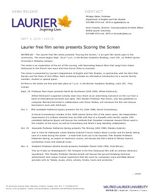 143-2015 : Laurier free film series presents Scoring the Screen