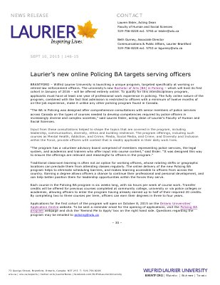 146-2015 : Laurier's new online Policing BA targets serving officers