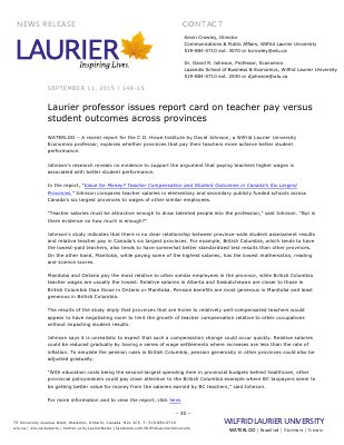 148-2015 : Laurier professor issues report card on teacher pay versus student outcomes across provinces