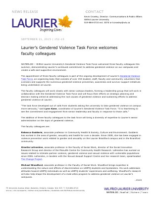 152-2015 : Laurier's Gendered Violence Task Force welcomes faculty colleagues