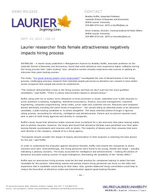 156-2015 : Laurier researcher finds female attractiveness negatively impacts hiring process