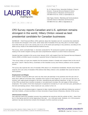 158-2015 : CFO Survey reports Canadian and U.S. optimism remains  strongest in the world; Hillary Clinton viewed as best presidential candidate for Canadian businesses