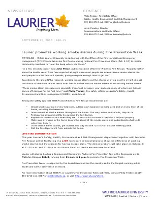160-2015 : Laurier promotes working smoke alarms during Fire Prevention Week
