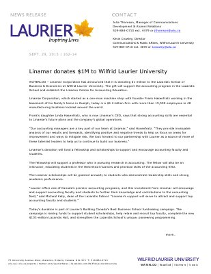 162-2015 : Linamar donates $1M to Wilfrid Laurier University