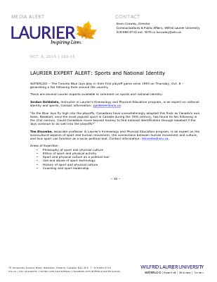 163-2015 : LAURIER EXPERT ALERT: Sports and National Identity