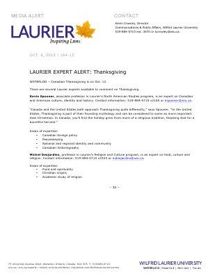 164-2015 : LAURIER EXPERT ALERT: Thanksgiving