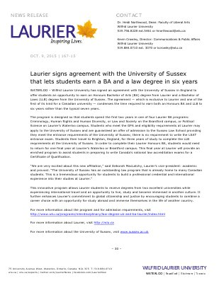 167-2015 : Laurier signs agreement with the University of Sussex that lets students earn a BA and a law degree in six years