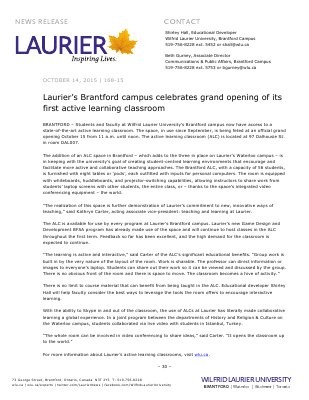 168-2015 : Laurier's Brantford campus celebrates grand opening of its first active learning classroom